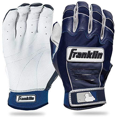 Franklin Sports Adult MLB CFX Pro Batting Gloves, Pearl/Navy, Large