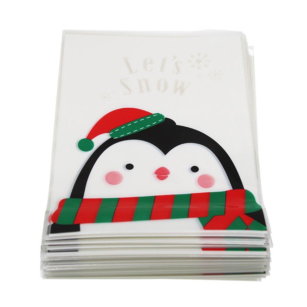 aloiness 100 Pieza Bolsas de Galletas Autoadhesivas de Navidad Navidad, Celofá n, Caramelo, Bolsa de Celofá n para Regalo de Fiesta Celofán Bolsa de Celofán para Regalo de Fiesta