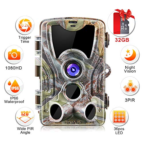 Crenova Trail Camera 20MP 1080P HD with 32GB Micro Card Available with 940nm IR LEDs...