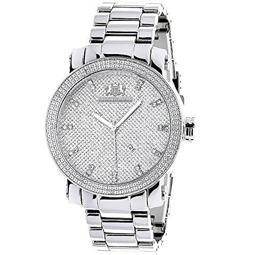LUXURMAN Mens Diamond Watch 0.12ct Stainless Steel Band ()