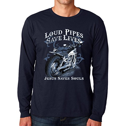 CHRISTIAN LONG SLEEVE T-SHIRT-LOUD PIPES SAVES LIVES Navy Large