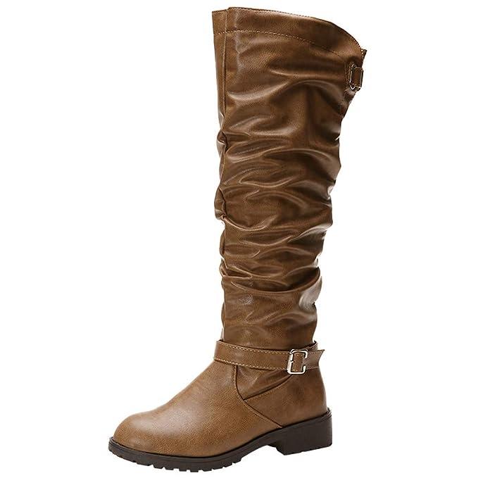 ❤ Tubo Largo para Mujer, Botas de Cuero con Cremallera y Punta Redonda y Botas Altas Sobre Las Rodillas Zapatos Boots Absolute: Amazon.es: Ropa y ...