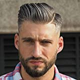Rossy&Nancy Toupee for Men Hair Replacement System European Human Hairpieces with 10''x8'' Super Thin French Lace #1B Mixed 20% Gray Hair