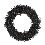 "Vickerman 48"" Pre-Lit Black Ashley Spruce Artificial Christmas Wreath - Clear Lights"