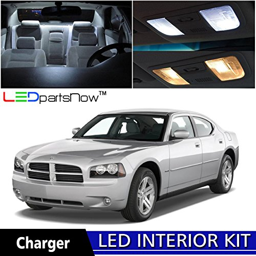 Dodge Charger Base - LEDpartsNow 2006-2010 Dodge Charger LED Interior Lights Accessories Replacement Package Kit (9 Pieces), WHITE