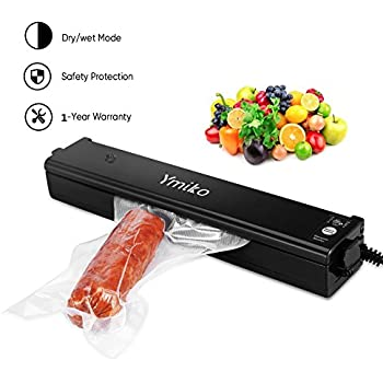 Vacuum Sealer Machine ,Ymiko Portable Compact Vacuum Sealing System for Vacuum and Seal /Seal ,Sous Vide Cooking Mufti-function including 20pcs Bags Black