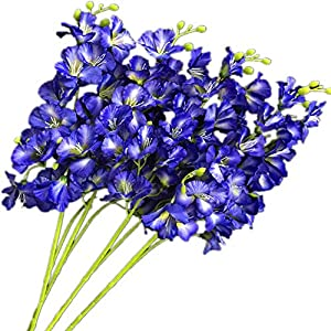 jiumengya 8pcs Artificial Orchid Flower 20 Heads/Piece Silk Hollyhock Fake Hibiscus 27.56″ for Wedding Centerpieces Home Floral Decoration (Blue)