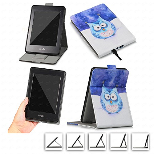 DHZ Multi-Viewing Case for Kindle Paperwhite - PU Leather Vertical Stand Flip Cover with Hand Belt Card Slot Auto Sleep/Wake for Amazon Paperwhite(All 2012 2013 2014 2015 2016 Versions),Cute Owl