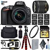 Nikon D5600 DSLR Wi-FI NFC 24.2MP DX CMOS Camera AF-P 18-55mm VR Lens + UV Protection Lens Filter + 12 inch Flexible Tripod + Camera Case - International Version