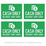 CASH ONLY No Credit Card/Debit Cards Stickers, Vinyl Decals, UV Protected & Waterproof, 3 X 4 Inch - 4 Labels (green)