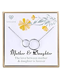 Chiclove Mother Daughter Necklace - Mothers Day Jewelry Gift - Sterling Silver Two Interlocking Infinity Double Circles Pendant Necklace
