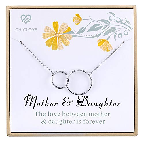 (CHICLOVE Mother Daughter Necklace - Mothers Day Jewelry Gift - Sterling Silver Two Interlocking Infinity Double Circles Pendant Necklace)