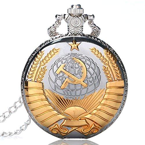 Golden Soviética símbolo de Reloj de Bolsillo, de Regalos de Estilo Ruso, Relojes Plata Bolsillo Watcher para Hombre: Amazon.es: Relojes