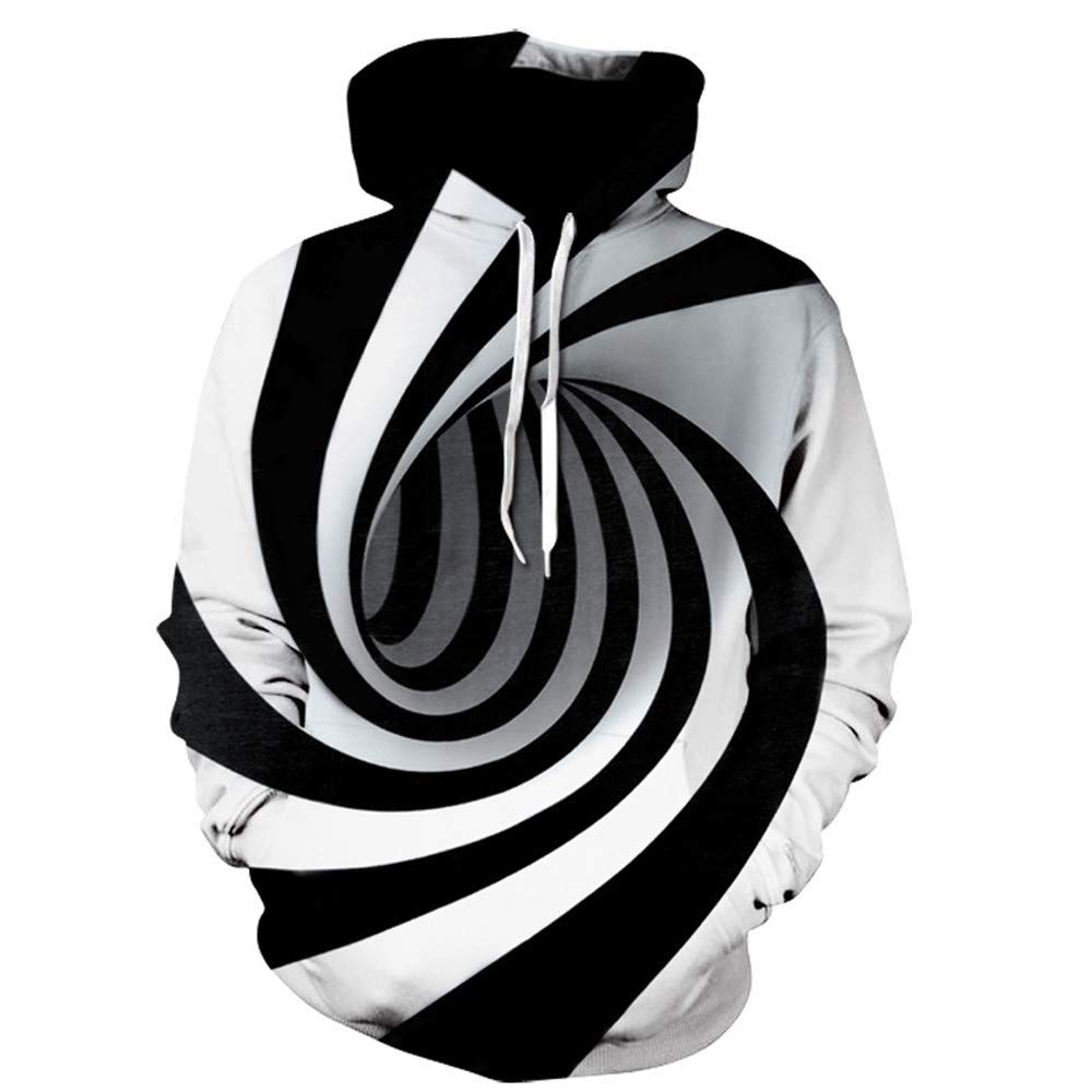 MODOQO Men's Stripe Hoodies,3D Digital Print Long Sleeve Pullover Sweatshirt Tops