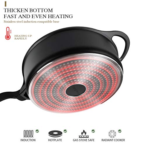 11 inch Nonstick Deep Fry Saute Pan with Lid - 4.5-QT Jumbo Cooker Skillet Pan Cast Aluminum - Induction Compatible PFOA… Salted Salad
