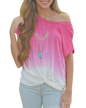 a5a1a1fad14a76 Damen Shirt Kurzarm für Schulterfrei Große Manschetten Lose Oversize Weite  T Shirts Pink XL