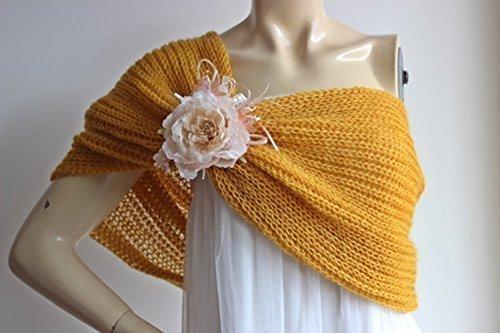 Mustard Bridal Cape/Yellow Wedding Wrap Shrug Bolero/Hand Knit Mohair Cape with Brooch (Brooch Bolero)