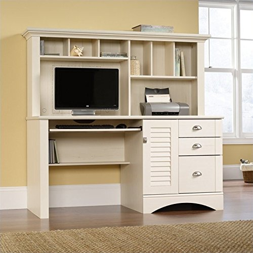 Sauder 158034 Harbor View Computer Desk with Hutch, L: 62.21'' x W: 23.50'' x H: 57.36'', Antiqued White finish by Sauder