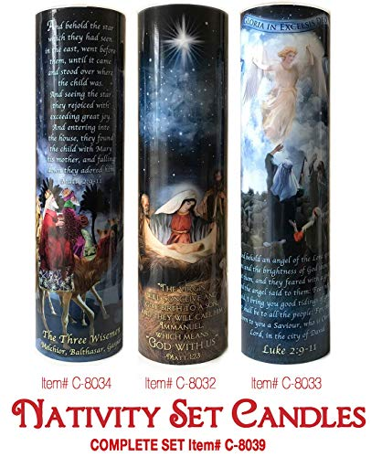Christmas Set of Three Nativity, WISEMEN, Angels and Shepards - LED Devotional Prayer Candle with 6 Hour Timer - Catholic Gift