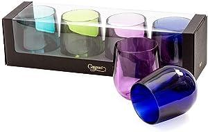 Caspari Acrylic 12oz Tumbler Glass Gift Set in Jewel Tones, Set of 4