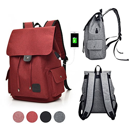 GuiShi(TM) Women Girls Casual polyester Backpack Purse Travel Work College School Bag with USB Charging Port (Red)