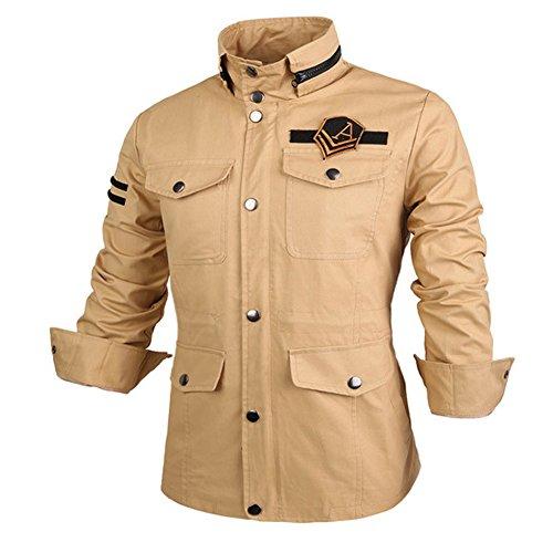 Men's Winter Coat Slim Fit Thick Military Rider Jacket Coat Khaki-J02