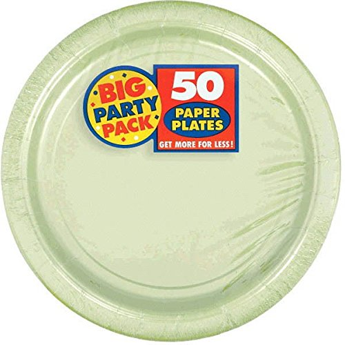 Party Leaf - Amscan AMI 650013.115 Amscan Leaf Green Big Party Pack Dinner Plates (50 Count), 1, green
