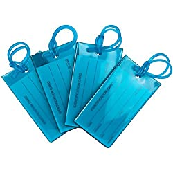 4 Pack TravelMore Luggage Tags For Suitcases, Flexible Silicone Travel ID Identification Labels Set For Bags & Baggage - Blue