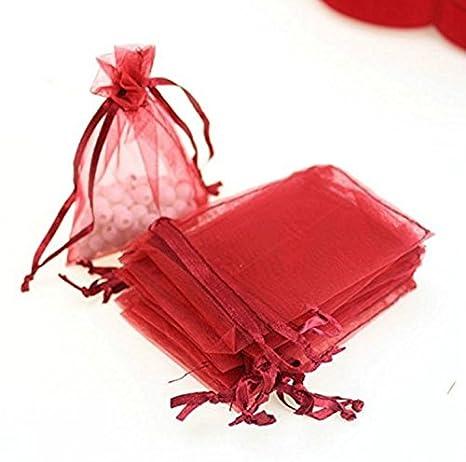 50 bolsas de organza color rojo con cordón, empaque de ...