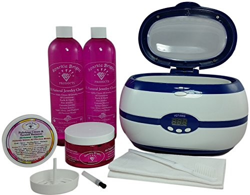 Sparkle Bright All-Natural Jewelry Cleaner - ULTRASONIC CHOICE KIT - VGT-2000 Digital Programmable Machine, 4oz Liquid w/Tray & Sm. Brush, 2-12 oz Liquid, 2oz Polish Cream/Tarnish Remover, Soft Brush (Silver Enamel Shield Charm)