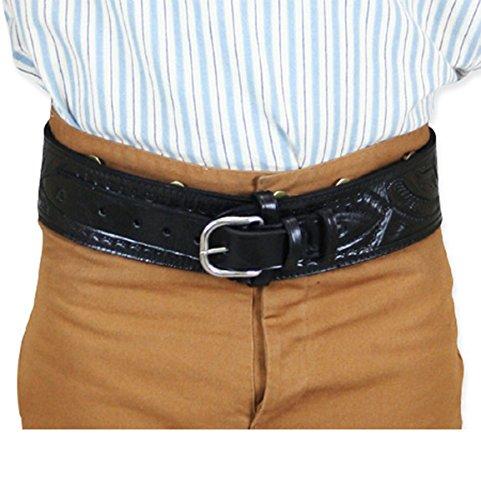 (Historical Emporium Men's Tooled Leather High-Rider Western Cartridge Belt .44/.45 Cal 48 Black)