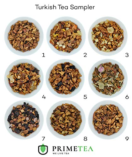 TURKISH FRUIT TEA SAMPLER - 9 Ounce Total ≈ 135 Servings - Delicious Vegan All Natural Flavors Assortment of Loose Leaf Tea - Hot or Iced - Variety Pack - No Artificial Flavors (Apple Tea Sampler)