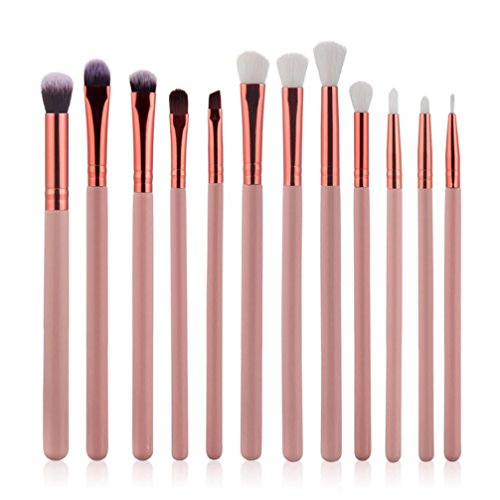 Snowfoller 12Pcs Cosmetic Tool Set Eyebrow Eyeshadow Brush Makeup Brush Sets Kits Tools