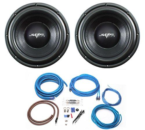 (2) Skar Audio VD-10 D2 10″ 500W RMS Dual 2 Ohm Subwoofers + 4 Gauge Complete Amp Kit