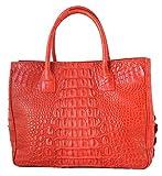 Authentic M Crocodile Skin Womens Hornback Bag Tote Shiny Red Handbag