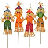 """Autumn Harvest Scarecrow Stakes, 28"""" ~ Pack of 4"""
