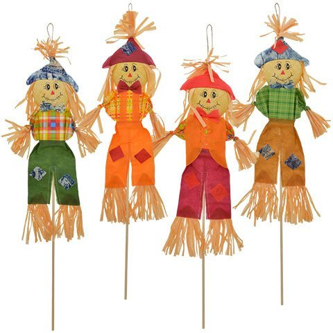 Wooden Halloween Yard Decorations - Autumn Harvest Scarecrow Stakes, 28
