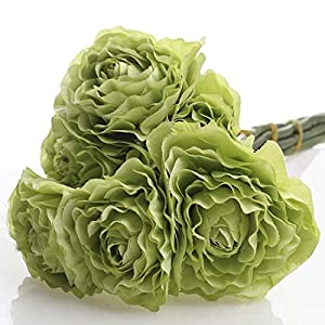 Factory Direct Craft Group of 3 Artificial Spring Green Ranunculus Silk Flower Bouquets for Arranging, Crafting and Decorating 96