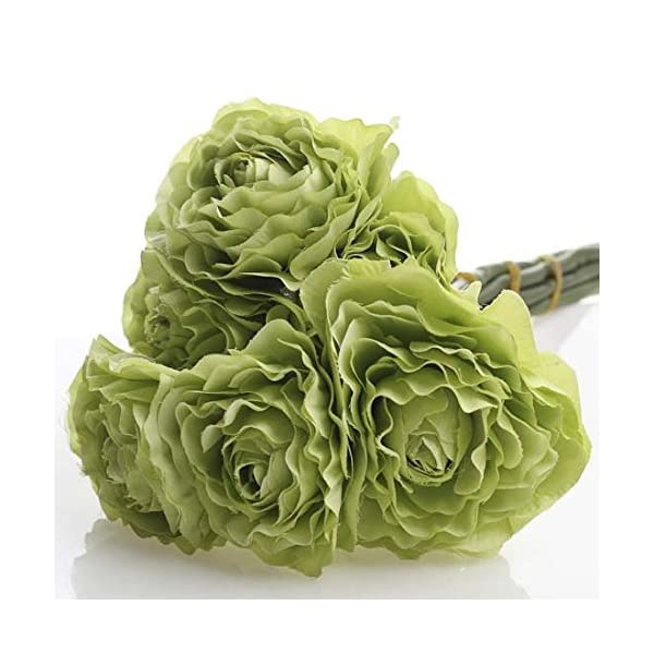 Factory Direct Craft Group of 3 Artificial Spring Green Ranunculus Silk Flower Bouquets for Arranging, Crafting and Decorating