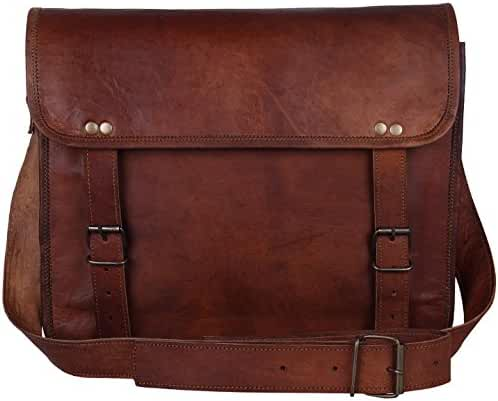 Leather Vintage Rustic Crossbody Messenger Courier Satchel Bag Gift Men Women ~ Business Work Briefcase Carry Laptop Computer Book Handmade Rugged & Distressed ~ Everyday Office College School 13 Inch