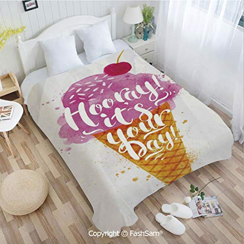 PUTIEN 3D Print Flannel Blanket Hooray! Its Your Day Phrase with Ice Cream Cone Cherry Flavor Decorative Perfect for Couch Sofa or Bed(39Wx49L)