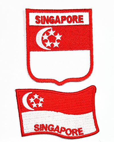 Singapore National Costume (HHO SET Singapore National flag Patch Embroidered DIY Patch Applique Sew Iron on for everyone Craft Patch for Bags Jackets Jeans Clothes Patch Jacket T-shirt Sew Iron on Costume)