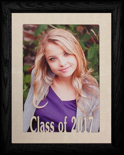 PersonalizedbyJoyceBoyce.com 5x7 Jumbo ~ Class of 2017 Portrait Picture Frame ~ Laser Cream Marble Matboard with Hardwood Frame - 2010 Graduation Gifts