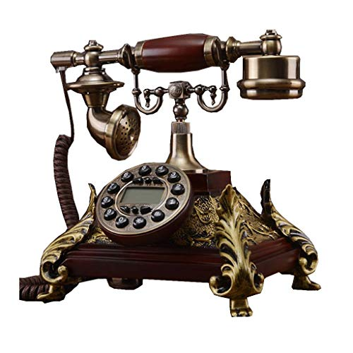 SunXue Telephone with Classic Metal Bell Ringer Welcome/Telephone Old Fashioned Retro Red Solid Wood Fixed-Line Push-Button (Size : Single ringtones)