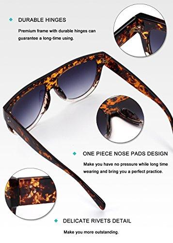 Gris Femmes Carré MOS9 Transparent Vintage Retro soleil Grandes Shades Oversized de GQUEEN Lunettes Tortue wq16OnT
