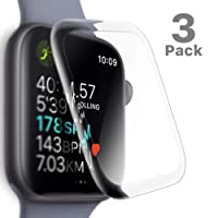 SLEO Screen Protector for New Apple Watch Series 4 Screen Protector [3 Pack],SLEO Premium Surface Hardness Full Coverage Tempered Glass Screen Protector for New Apple Watch Series 4