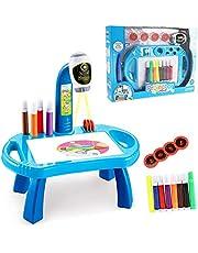 مكتب تعليم اطفال مع بروجكتور ذكي - طاولة لتعليم الاطفال الرسم مع موسيقى خفيفة وبروجكتور لعرض الرسومات، هدية رائعة لعيد ميلاد الاولاد والبنات