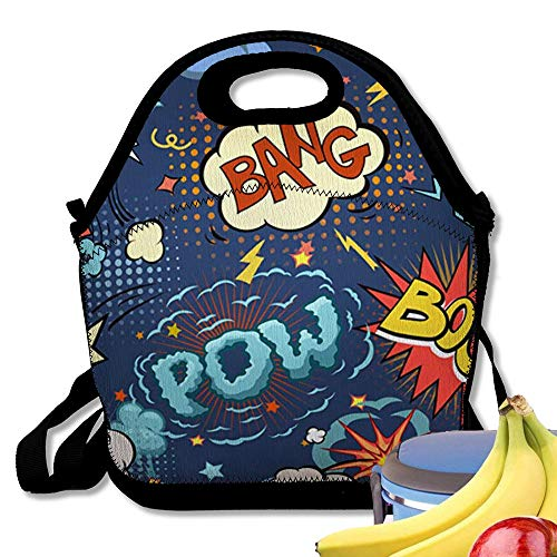 Starobos Neoprene Lunch Bag Tote Reusable Insulated Waterproof School Picnic Printed Comic Book Speech Bubbles Cartoon Graphic