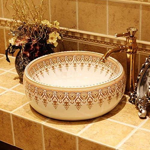 樹脂洗面台天然石楕円形凹型中国手作り溶岩流洗面器芸術的な楕円形のカラフルなバスルームシンクセラミック洗面台