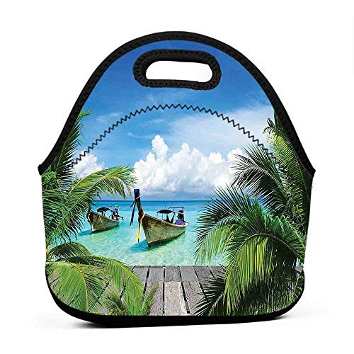 Travel Case Lunchbox with Zip Tropical Decor,Beach and Tropical Sea Wooden Deck Floating Boats Sunshine Honeypot,brown bag for lunch